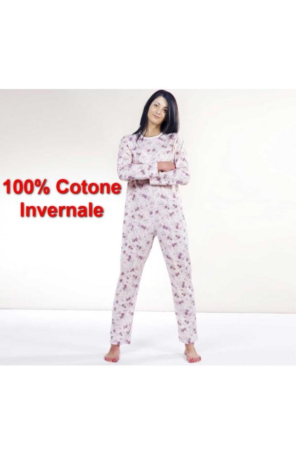 Tutone Inverno Pigiamone femminile autunno inverno per anziani cotone 100% peso medio con cerniera posteriore art. 1002