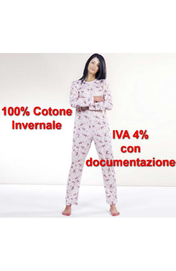 Pigiamone femminile autunno inverno per anziani cotone 100% con cerniera posteriore peso medio art. 1002
