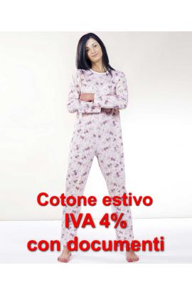 Tutone Estate IVA 4% Pigiamone femminile per anziani 100% cotone estivo manica lunga con cerniera posteriore 1003