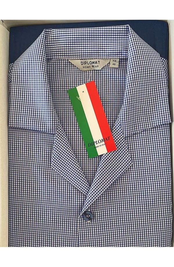 Pigiama aperto classico 100% cotone tessuto leggero elegantissimo Diplomat WO820