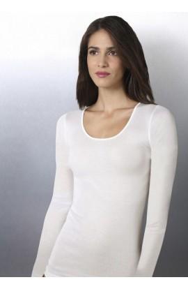 Maglia intima donna manica lunga cotone 100% felpato anallergico Caroli 814