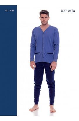 Pigiama per uomo giacca aperta 100% cotone invernale interlock Maristella 3148