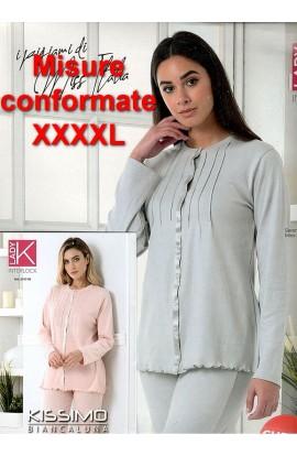 Pigiama donna calibrato aperto 100% cotone invernale interlock elegantissimo Kissimo 2163XL