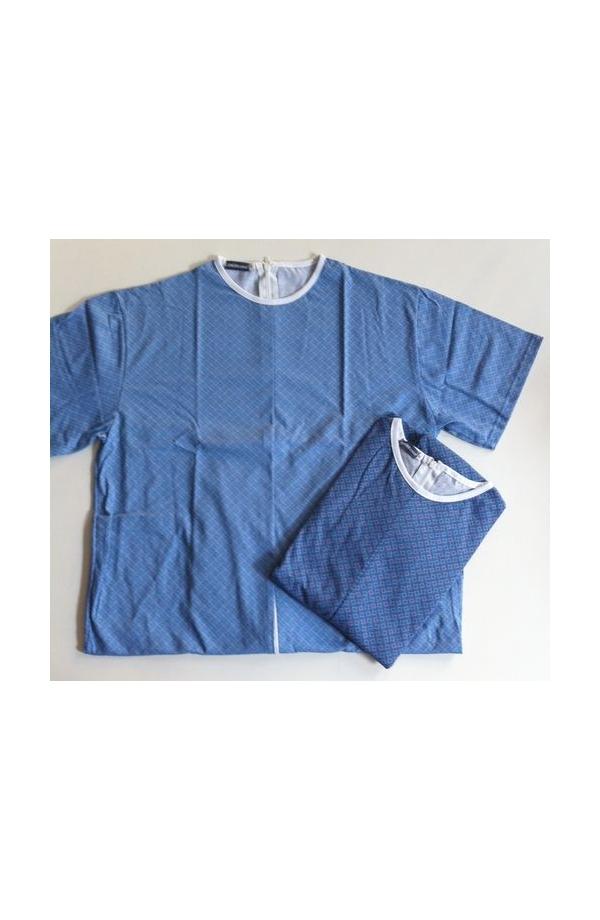 1011 Pigiamone Tutone maschile per anziani estivo mezza manica puro cotone con cerniera posteriore 1011