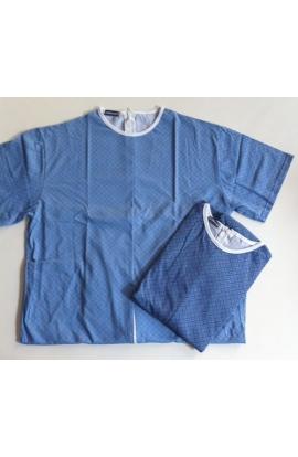 Estate Pigiamone Tutone maschile per anziani estivo mezza manica puro cotone con cerniera posteriore 1011
