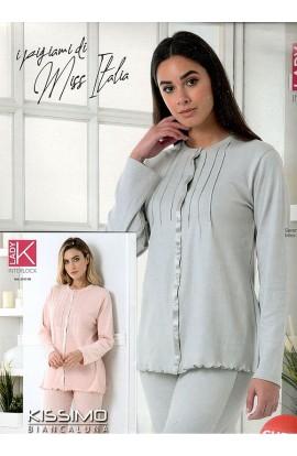 Pigiama donna aperto 100% cotone invernale interlock elegantissimo Kissimo 2103