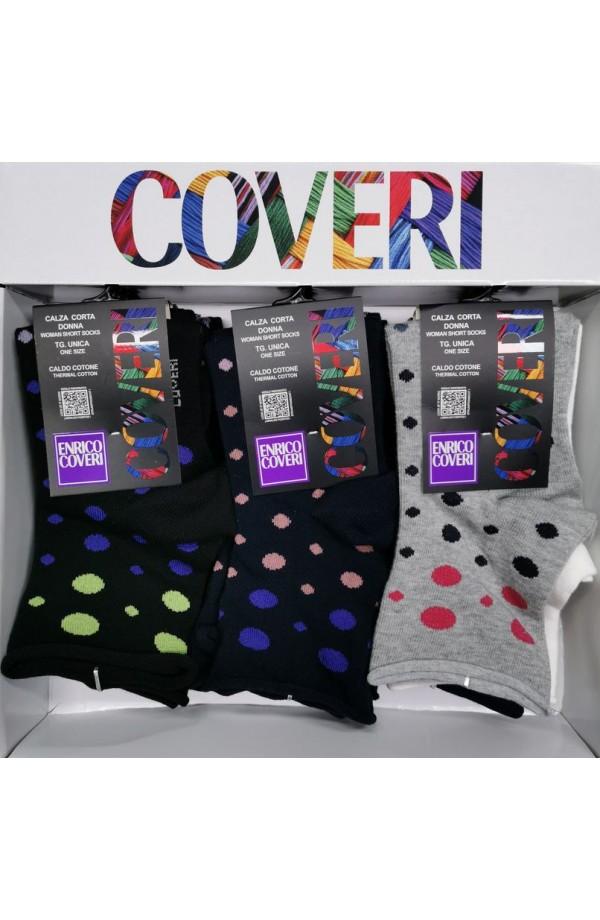 Calza Coveri donna gamba corta caldo cotone pois multicolor Funny4