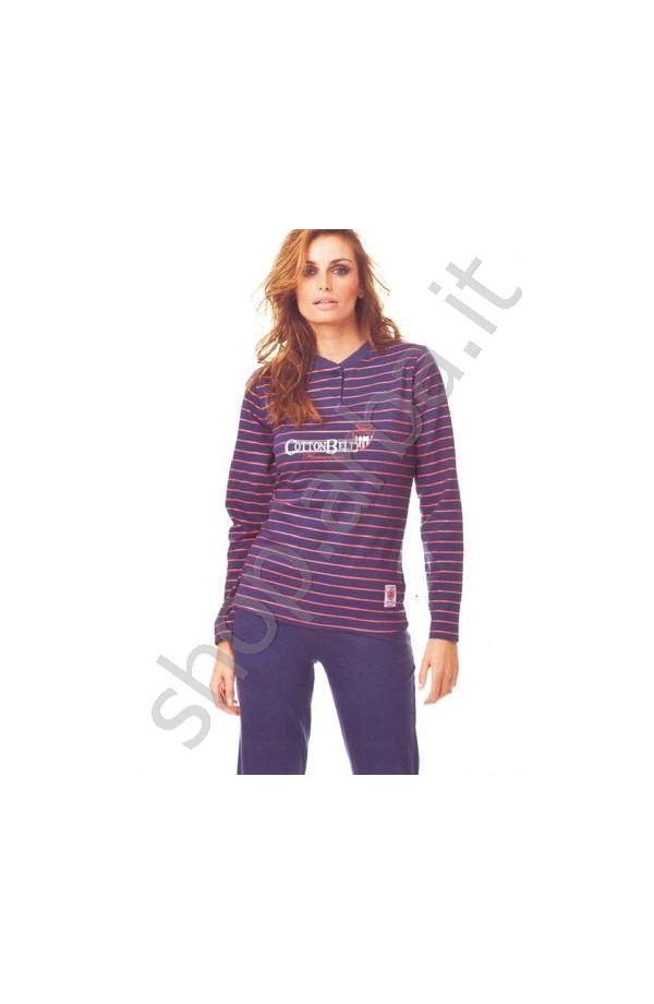 Pigiama donna lungo Cotton Belt cotone 100% art. 35048 blu
