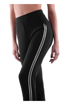 Leggings elasticizzato con cerniera e banda laterale in lurex ELETTA - MILANO EL309